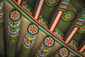 Detail Of Traditional Korean Roof, Colourful Decorated Ornament Royalty Free Stock Image - 80207076