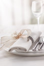 Beautifully Elegant Decorated Table For Holiday - Wedding Or Valentine Day With Modern Cutlery, Bow, Glass, Candle And Gift Stock Photo - 80212460