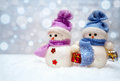 Snowman Couple With Scarfs Stock Photos - 80220123