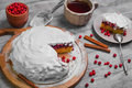 Christmas Winter Pie Cake With Red Berry Cranberries Royalty Free Stock Image - 80220556