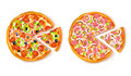 Pizza With Slice Composition Stock Photos - 80222213