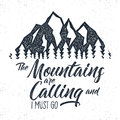 Hand Drawn Mountain Advventure Label.  Calling Illustration. Typography Design With Sun Bursts Trees And . Roughen Style Stock Photos - 80234843