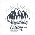 Hand Drawn Advventure Label. Mountains Calling Illustration. Typography Design With Sun Bursts. Roughen Style. Adventure Royalty Free Stock Photo - 80234865