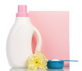 Pack Washing Powder In Measuring Cup, Bottle Liquid, Flower Isolated. Stock Photo - 80249030