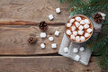 Cup Of Hot Chocolate On Wooden Rustic Table From Above. Delicious Winter Drink. Flat Lay. Stock Photos - 80258423
