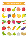 Fruits And Vegetables Icon Set, Flat Style. Fruits, Berries And Vegetables Set Set Isolated On A White Background. Fruits And Vege Stock Image - 80264991
