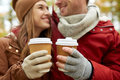 Close Up Of Happy Couple With Coffee In Autumn Stock Photos - 80266323
