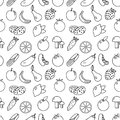 Fruits And Vegetables Line Style Seamless Pattern. Fruits And Vegetables Doodle Seamless Pattern. Fruits And Vegetables Outline Ba Stock Photo - 80268830