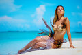 Portrait Of Exotic Fantasy Mermaid On The Beach Royalty Free Stock Photo - 80272285