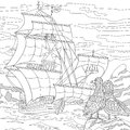 Zentangle Stylized Sailing Ship Royalty Free Stock Images - 80278539