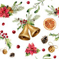 Watercolor Christmas Pattern With Classic Decor. New Year Tree Ornament With Bell, Holly, Mistletoe, Poinsettia, Orange Stock Photography - 80283552
