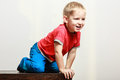 Little Boy Play Sit On Table. Royalty Free Stock Photos - 80292268