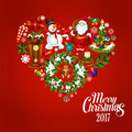 Heart Created Of Christmas And New Year Icons Stock Photo - 80299970