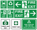 Set Of Emergency Fire Exit , Emergency Assembly Area, First Aid, Stock Images - 80301584