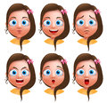 Female Avatar Vector Character. Set Of Teenager Girl Heads Stock Photos - 80303073