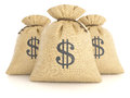 Group Of Rag Bags With Dollars Stock Photography - 80309472