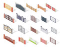 Set Of Gates And Fences In Isometric Projection Stock Images - 80327474