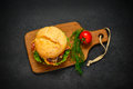 Burger In Top View Royalty Free Stock Images - 80341999