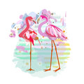 Abstract Watercolor Draw Of Two Pink Red Flamingos Royalty Free Stock Photo - 80347665