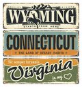 Vintage Tin Sign Collection With America State. Wyoming. Connecticut. Virginia. Retro Souvenirs On Rust Background. American Flag. Royalty Free Stock Photography - 80348777