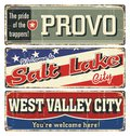Vintage Tin Sign Collection With USA Cities. Provo. Salt Lake. West Valley. California. Utah. Retro Souvenirs Or Postcard Template Stock Photography - 80348822