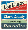 Vintage Tin Sign Collection With USA Cities. Las Vegas. Clark County. Paradise. Retro Souvenirs Or Postcard Templates On Rust Back Stock Photo - 80349010