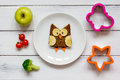 Kids Menu Owl Shaped Sandwich With Vegetables And Fruits Royalty Free Stock Photos - 80349608