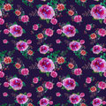 Romantic Floral Seamless Pattern With Rose Flowers And Leaf. Print For Textile Wallpaper Endless. Hand-drawn Watercolor Royalty Free Stock Image - 80350216