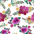 Romantic Floral Seamless Pattern With Rose Flowers And Leaf. Print For Textile Wallpaper Endless. Hand-drawn Watercolor Royalty Free Stock Photos - 80350468
