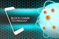 Smartphone With Blockchain Concept. Bitcoin Networking Protection And Honeycomb Stock Image - 80363081