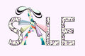 Abstract Illustration Girl With Shopping Bags Royalty Free Stock Image - 80369056