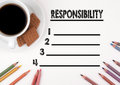 Responsibility Blank List. White Desk With A Pencil And A Cup Of Stock Photo - 80369850