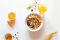 Breakfast With Oatmeal And Orange Juice On White Background Royalty Free Stock Images - 80372699