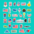 USA Icon. National Sign Of America. American Flag And Statue Of Royalty Free Stock Images - 80384089