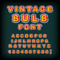 Vintage Bulb Font. Glowing Letters. Retro Alphabet With Lamps. G Royalty Free Stock Photo - 80384395