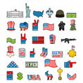 America Icon Set. National Sign Of USA. American Flag And Statue Stock Photo - 80384400