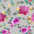 Romantic Floral Seamless Pattern With Rose Flowers And Leaf. Print For Textile Wallpaper Endless. Hand-drawn Watercolor Stock Photo - 80386730