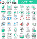 Vector Office Modern Color Flat Line Outline Icons For Apps And Web Design. Royalty Free Stock Photo - 80397415