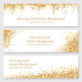 Glowing Gold Glitter Header Set. Stock Image - 80397851