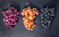 Top Down Of Different Branches Grapes On Black Slate Stone Backg Royalty Free Stock Image - 80436596