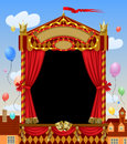 Puppet Show Booth With Theater Masks, Red Curtain, Illuminated S Stock Images - 80444694