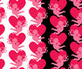Seamless Pattern With Silhouettes Of Angel And Heart. Valentine` Royalty Free Stock Photography - 80449117