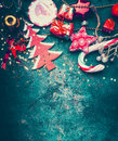 Christmas Border With Red Decoration, Christmas Tree And Candy On Dark Blue Vintage Background, Top Royalty Free Stock Photography - 80468107