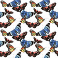 Tropical Hawaii Leaves Palm Tree And Butterflies Pattern In A Watercolor Style Isolated. Stock Photos - 80477123
