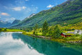 Country Houses In Village Olden In Norway. Royalty Free Stock Images - 80481289