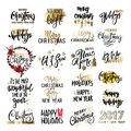 Set Of Merry Christmas Text, Hand Drawn Lettering And Happy New Year Typography Design. Stock Images - 80483854