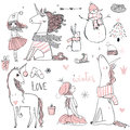 Doodle Princess With Unicorn Royalty Free Stock Photography - 80490027