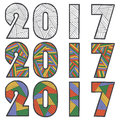 Happy New Year. Zen Tangle And Zen Doodle Text. 2017 Vector. Decorative Card Template. Stock Images - 80493434