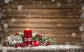 Advent Decoration With One Burning Candle Royalty Free Stock Photos - 80496058