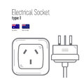 Switches And Sockets Set. Type A. AC Power Sockets Realistic Illustration Stock Photos - 80497003